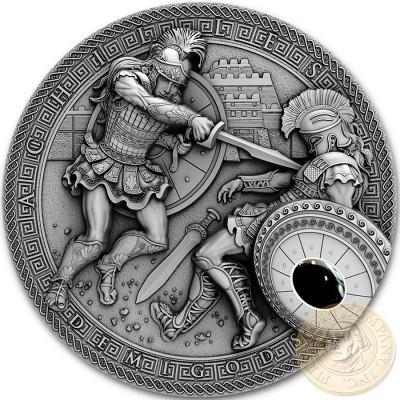 Niue Island TROJAN WAR - ACHILLES vs HECTOR series DEMIGODS Silver Coin $2 Antique finish 2017 Ultra High Relief Hematite stone 2 oz