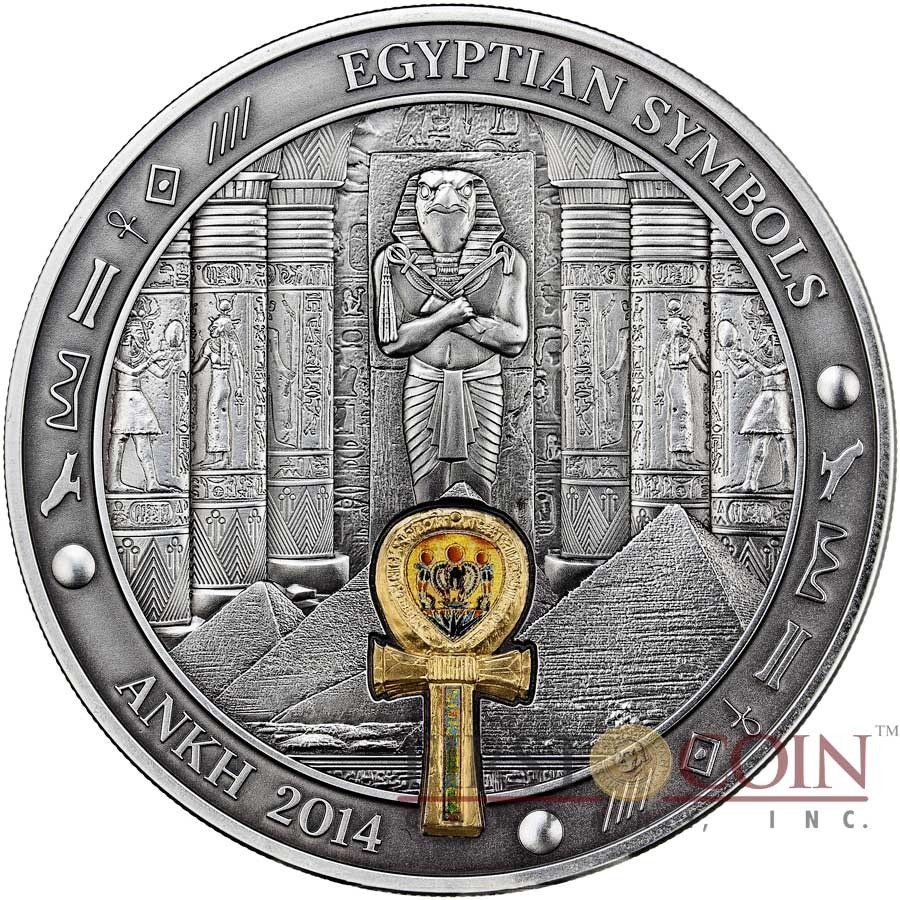 Palau Ankh Silver Coin Egyptian Symbols Series 20 Antique Finish