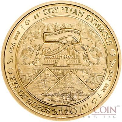 Palau EYE OF HORUS Gold coin EGYPTIAN SYMBOLS series $1 Proof 2015