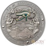 Palau EYE OF HORUS Silver coin EGYPTIAN SYMBOLS series $20 Antique finish 2015 Gold plated High Relief 3 oz