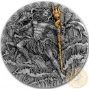 Niue Island POSEIDON - GOD OF SEA series GODS Silver Coin $2 Antique finish 2018 Detailed Ultra High Relief Gold plated 2 oz