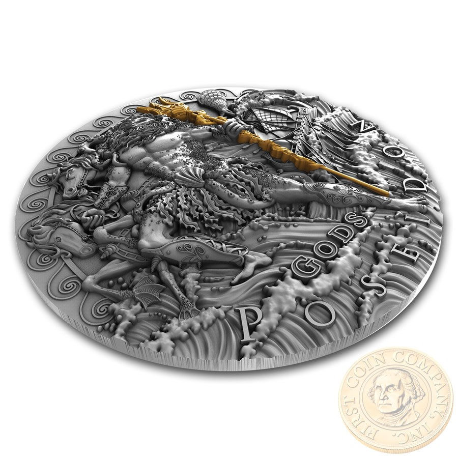 Niue Island POSEIDON - GOD OF SEA series GODS Silver Coin $2 Antique finish 2018 Ultra High Relief Gold plated 2 oz