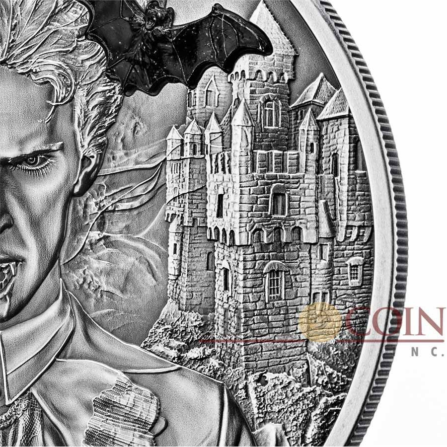 Palau VAMPIRE series MYTHICAL CREATURES $10 Silver Coin Ultra High Relief Antique finish 2014 Marble Bat inlay 2 oz