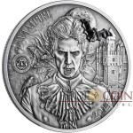 Palau VAMPIRE Silver Coin MYTHICAL CREATURES Series $10 Ultra High Relief Antique finish 2014 Bat marble inlay 2oz