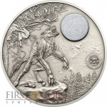 Palau WEREWOLF series MYTHICAL CREATURES $10 Silver Coin Ultra High Relief Antique finish 2013 Moon marble inlay 2 oz