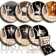 France THE MOST FAMOUS BALLETS 7 x 20 Centimes Copper-Nickel Seven Coin Collection Set Cold Enamel 1962 - 2001