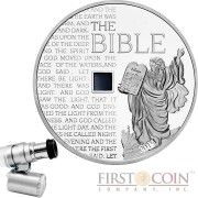 Burkina Faso THE BIBLE NANO Silver coin 1000 Francs Antique finish 2015 Nano chip insert 1 oz