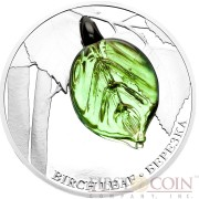 Niue Island BIRCH LEAF series Bohemian Glass Silver Coin $2 Handcrafted Bohemian glass 2016 Proof