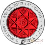 Congo BOHEMIA GLASS series ART OF GLASS 2016 Silver coin 1000 Francs Handcrafted Bohemia glass 2 oz