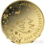 Congo MERRY CHRISTMAS 2016 Gold coin 100 Francs Proof