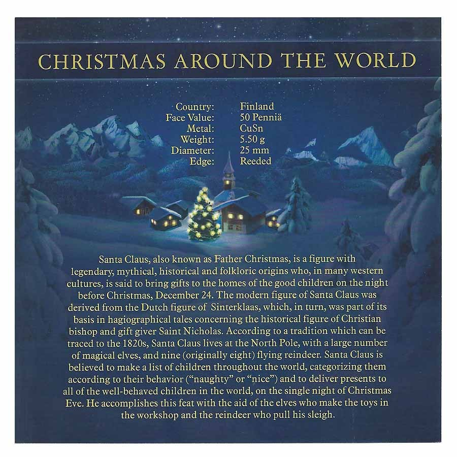 Finland CHRISTMAS AROUND THE WORLD 7 x 50 Pennia Cu-Ni with Handcrafted Cold-enamel-application Seven Coin Set Vary years
