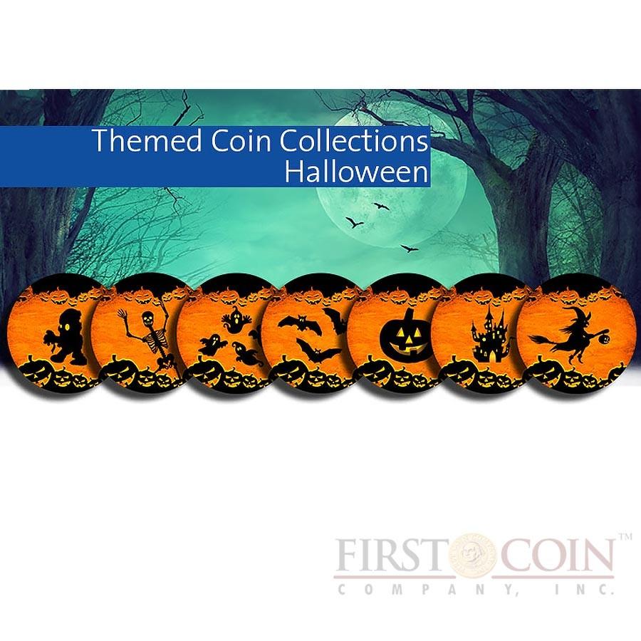 USA HALLOWEEN 7 x 25 Cents/Quarter Copper-Nickel Seven Coin