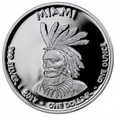 USA TRIBE MIAMI INDIANA MINK NATIVE STATE DOLLARS Series JAMUL - NATIVE AMERICAN NATIONS $1 Silver coin 2017 Proof 1 oz