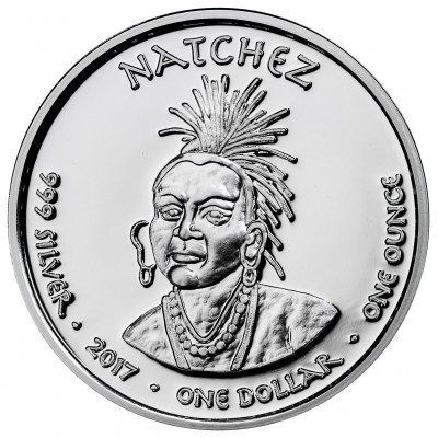USA TRIBE NATCHEZ LOUISIANA BLACK BEAR NATIVE STATE DOLLARS Series JAMUL - NATIVE AMERICAN NATIONS $1 Silver coin 2017 Proof 1 oz