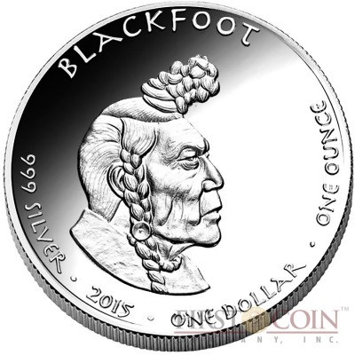 USA TRIBE BLACKFOOT IDAHO PORCUPINE NATIVE STATE DOLLARS Series JAMUL - NATIVE AMERICAN NATIONS $1 Silver coin 2015 Proof 1 oz