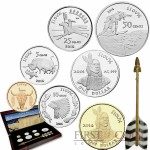 "USA ""Sioux Indian Nation"" Seven Coin Set  Silver, Brass, Copper, Nickel 2014"