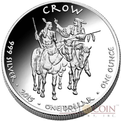 USA TRIBE CROW MONTANA TIMBER WOLF NATIVE STATE DOLLARS Series JAMUL - NATIVE AMERICAN NATIONS $1 Silver coin 2016 Proof 1 oz