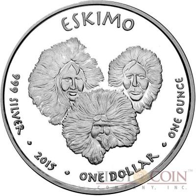 USA TRIBE ESKIMO ALASKA POLAR BEAR NATIVE STATE DOLLARS Series JAMUL - NATIVE AMERICAN NATIONS $1 Silver coin 2015 Proof 1 oz