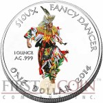 USA FANCY DANCER OGLALA SIOUX TRIBE Series SIOUX INDIAN - NATIVE AMERICAN NATIONS $1 Silver coin 2014 Proof 1 oz