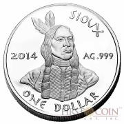 USA TRIBE OGLALA SIOUX PINE RIDGE RESERVATION series SIOUX INDIAN - NATIVE AMERICAN NATIONS $1 Silver coin 2014 Proof 1 oz