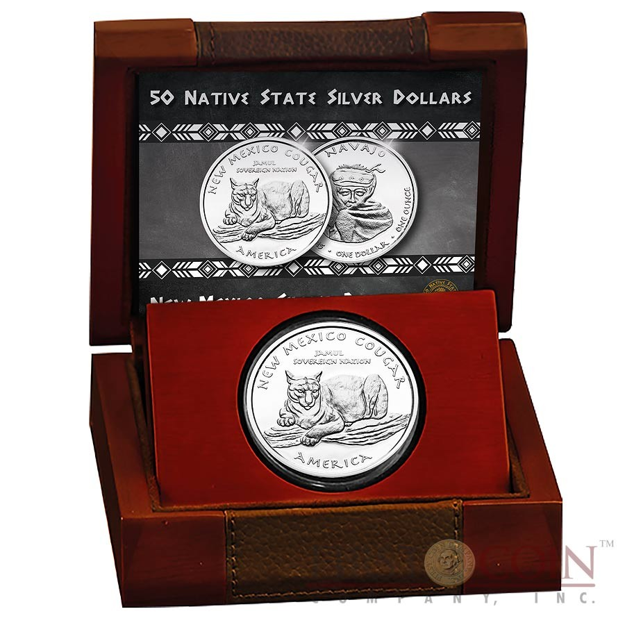 USA TRIBE NAVAJO NEW MEXICO COUGAR NATIVE STATE DOLLARS Series JAMUL - NATIVE AMERICAN NATIONS $1 Silver coin 2015 Proof 1 oz