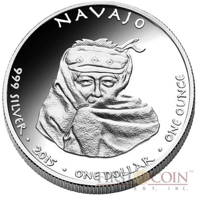 USA NAVAJO NEW MEXICO COUGAR NATIVE STATE DOLLARS Series JAMUL - NATIVE AMERICAN NATIONS $1 Silver coin 2015 Proof 1 oz