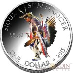 USA SUN DANCER OGLALA SIOUX TRIBE Series SIOUX INDIAN - NATIVE AMERICAN NATIONS $1 Silver coin 2015 Proof 1 oz