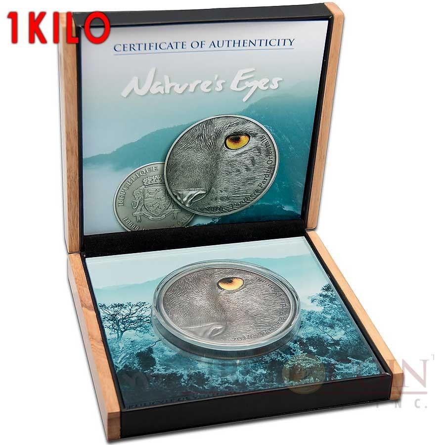 Congo Kilo AMUR LEOPARD PANTHERA PARDUS ORIENTALIS series NATURE'S EYES Silver coin 10,000 Francs Antique finish 2016 High Relief 1 KILO