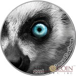 Congo EULEMUR LEMUR series NATURE'S EYES Silver coin 2000 Francs Antique finish 2015 High Relief 2 oz