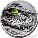 Congo CHINESE ALLIGATOR series NATURE'S EYES Silver coin Antique finish 2000 Francs 2016 High Relief 2 oz