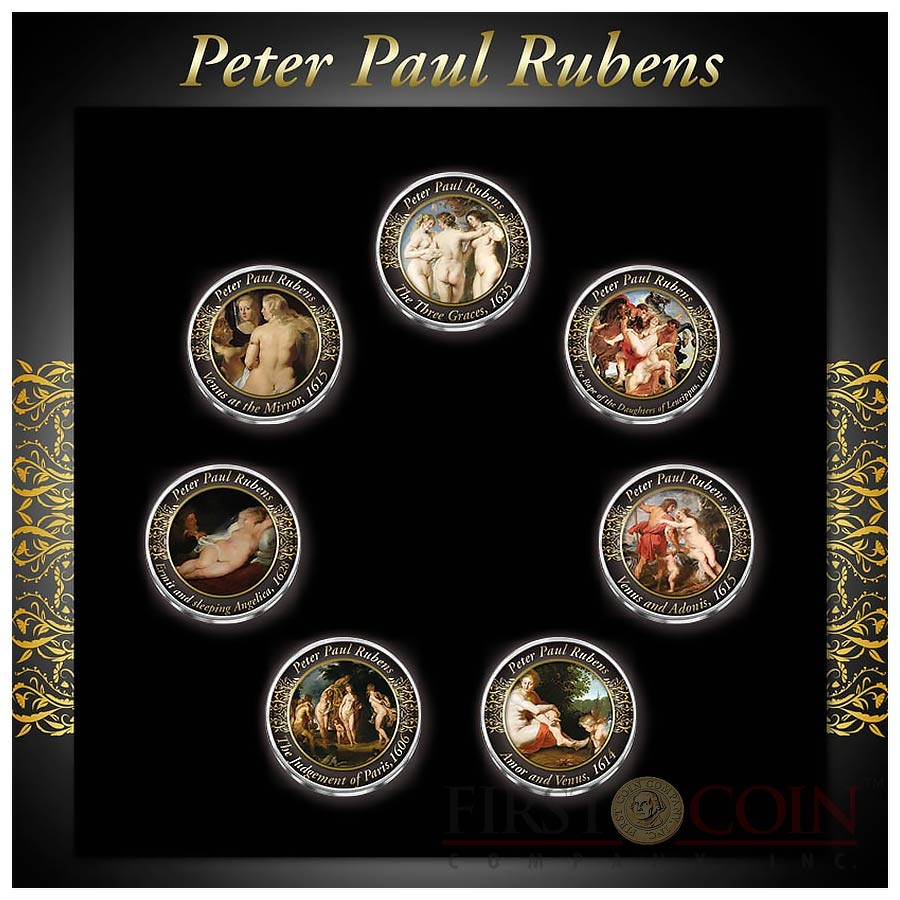 Netherlands PETER PAUL RUBENS 7 x 1 Guilder Copper-Nickel Seven Coin Collection Set Cold Enamel 1967 - 1980