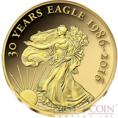 Congo 30th ANNIVERSARY OF THE AMERICAN EAGLE WALKING LIBERTY series SMALLEST GOLD 100 Francs Gold coin Proof 2016