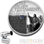 Burkina Faso THE NEW TESTAMENT NANO BIBLE MOSES Silver coin 1000 Francs Antique finish 2016 Nano chip insert 1 oz