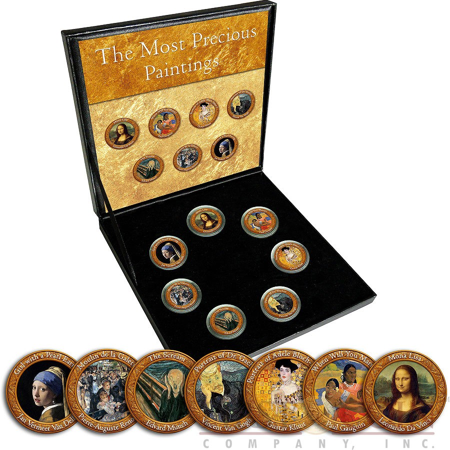 Italy THE MOST PRECIOUS PAINTINGS 7 x 50 Lire Copper-Nickel Seven Coin Collection Set Cold Enamel 1954 - 1989