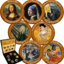 Italy THE MOST PRECIOUS PAINTINGS Cu-Ni with Handcrafted Cold-enamel-application 350 Lires Italiana Seven Coin Set