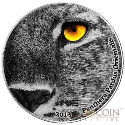 Congo AMUR LEOPARD PANTHERA PARDUS ORIENTALIS series NATURE'S EYES Silver coin 2000 Francs Antique finish 2013 High Relief 2 oz