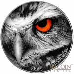 Congo BUBO BUBO EAGLE OWL series NATURE'S EYES Silver coin 2000 Francs Antique finish 2014 High Relief 2 oz