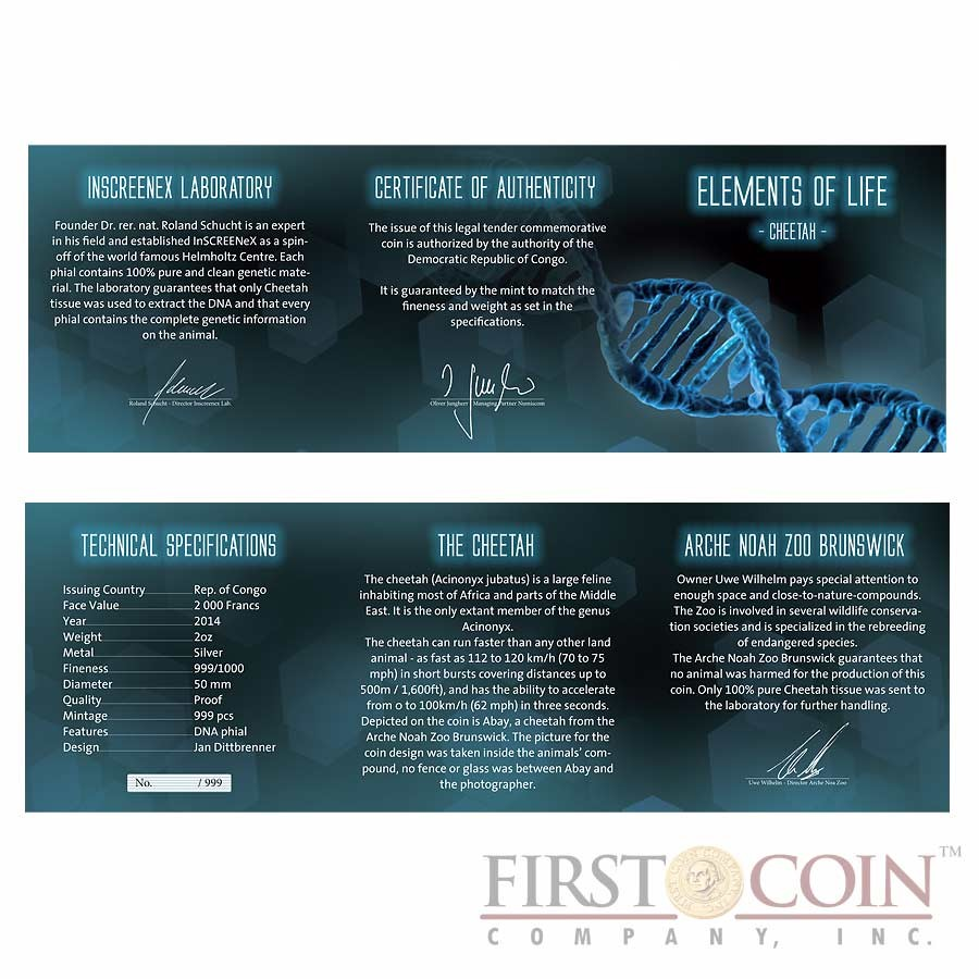 "Congo DNA Cheetah ""Elements of Life"" Silver coin 2000 Francs 2014 Real DNA of Cheetah in capsule Proof 2 oz"