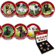USA DOGS 7 x 25 Cents Copper-Nickel Seven Coin Collection Set Cold Enamel 2001