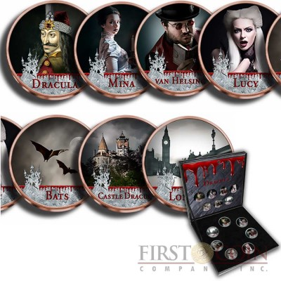 Great Britain DRACULA 7 x 1/2 Penny Copper-Nickel Seven Coin Collection Set Cold Enamel 1954 - 1970