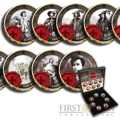 France MUSKETEERS 7 x 20 Centimes Copper-Nickel Seven Coin Collection Set Cold Enamel 1962 - 2001