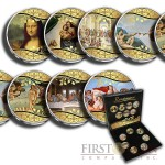 Italy RENAISSANCE 7 x 10 Lire Copper-Nickel Seven Coin Collection Set Cold Enamel 951 - 2001