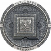 Mongolia VASUDHARA MANDALA series ARCHEOLOGY and SYMBOLISM 2000 Togrog Silver Coin Antique finish 2020 Ultra High Relief Smartminting 3 oz
