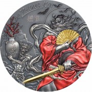 Cook Islands ZHONG KUI series ASIAN MYTHOLOGY $20 Silver Coin Antique finish Proof 2019 Ultra High Relief Smartminting Gold plated 3 oz