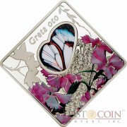 Palau Butterfly Greta Oto $10 Animals in Glass Silver coin Glass Insert Colored 2014 Proof ~2 oz