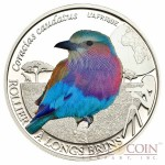Burkina Faso LILAC BREASTED ROLLER series BIRDING Silver Coin 500 Francs 2013 Colored