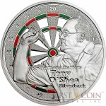 Cook Islands Tony O'Shea $1 series Famous Darters Copper Silver Plated coin Colored Proof 2014