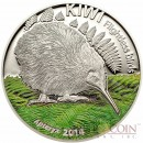 Cook Islands Kiwi $5 Flightless Birds series Partly Colored Silver coin High Relief 2014 Proof 1 oz
