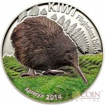 Cook Islands Kiwi $5 Flightless Birds series Colored Silver coin High Relief 2014 Proof 1 oz