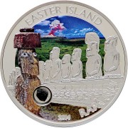 Cook Islands Easter Island Rapa Nui Moai $5 Magical & Mystical Places Silver coin Lava Insert Colored Proof 2014